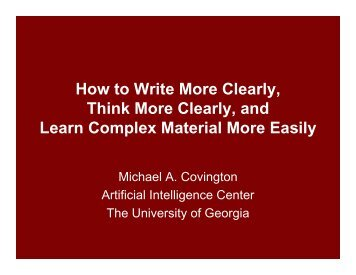 How to Write More Clearly, Think More Clearly - Artificial Intelligence ...