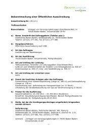 Bekanntmachung einer Öffentlichen Ausschreibung - Stadtwerke ...