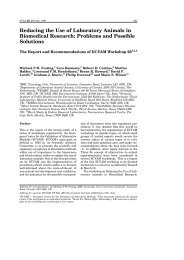 Reducing the Use of Laboratory Animals in Biomedical Research ...