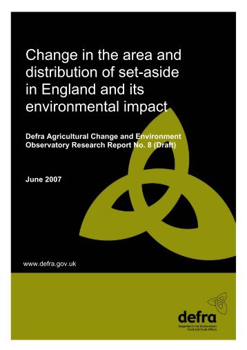 Change in the area and distribution of set-aside in ... - ARCHIVE: Defra