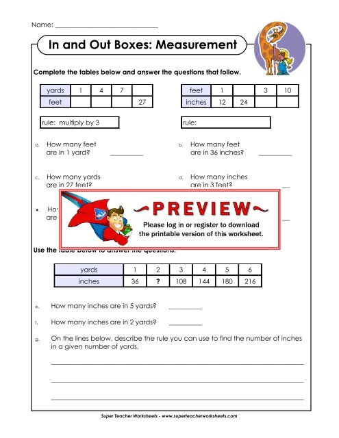In and Out Boxes: Measurement - Super Teacher Worksheets