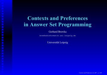 Contexts and Preferences in Answer Set Programming - Universität ...