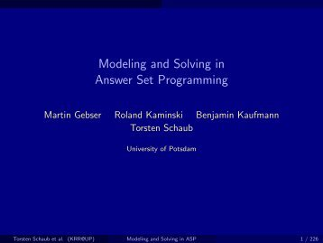 Modeling and Solving in Answer Set Programming