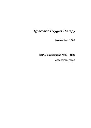 Hyperbaric Oxygen Therapy - Hyperbaric Chamber Information ...