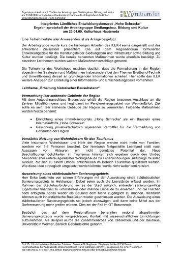 Ergebnisprotokoll der Arbeitsgruppe Siedlungsbau ... - Stadt Wiehe