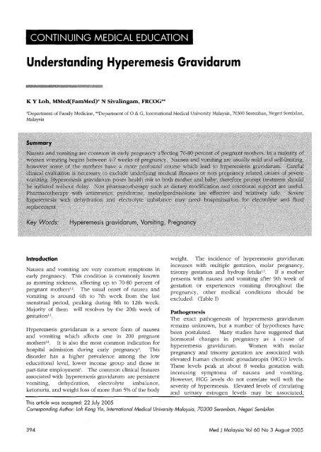 Understanding Hyperemesis Gravidarum - Medical Journal of