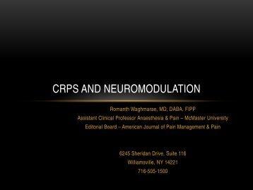 February — CRPS and Neuromodulation - McMaster University