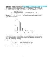 Negative hypergeometric distribution (from http://www.math.wm.edu ...