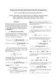 moments estimators for hypergeometric distributions - Ticsp