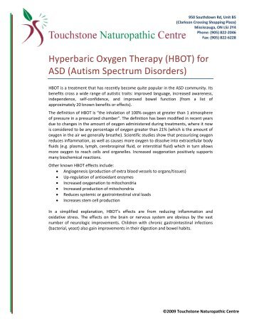 Hyperbaric Oxygen Therapy (HBOT) for ASD (Autism Spectrum ...