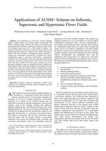 Applications of AUSM+ Scheme on Subsonic, Supersonic and ...
