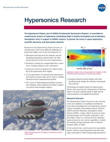 Hypersonics Research - NASA