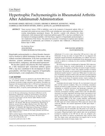 Hypertrophic Pachymeningitis in Rheumatoid Arthritis After ...