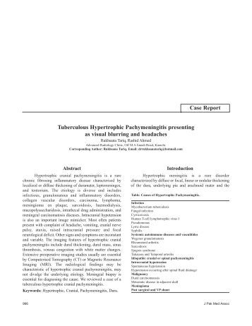 Tuberculous Hypertrophic Pachymeningitis presenting as visual ...