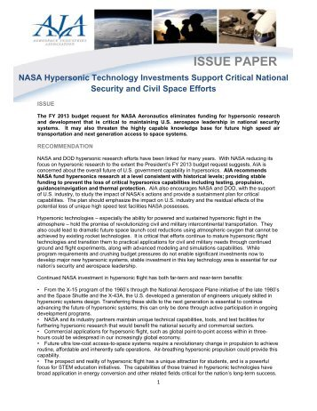 AIA NASA Hypersonics White Paper - Aerospace Industries ...