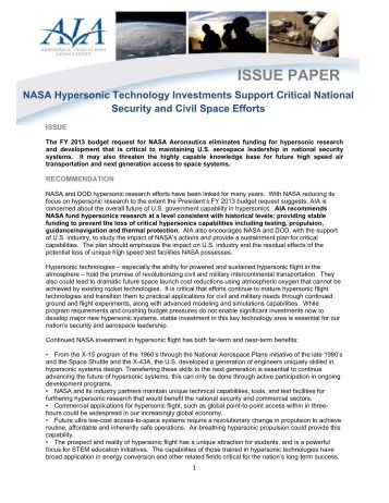 AIA NASA Hypersonics White Paper - Aerospace Industries ...