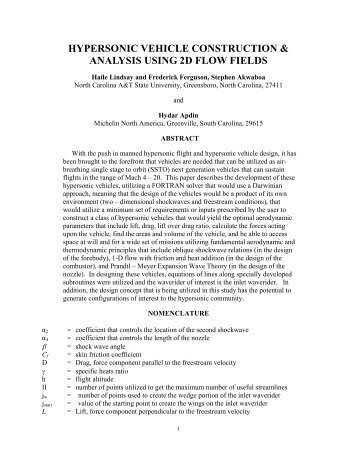 hypersonic vehicle construction & analysis using 2d ... - TFAWS - Nasa