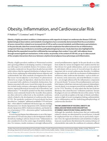 Obesity, Inflammation, and Cardiovascular Risk - Isdbweb.org