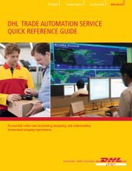 DHL TRADE AUTOMATION SERVICE QUICK REFERENCE GUIDE