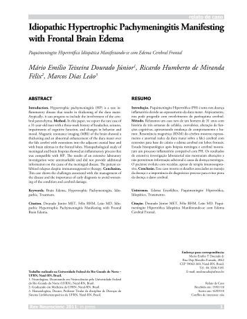 Idiopathic Hypertrophic Pachymeningitis Manifesting with Frontal ...