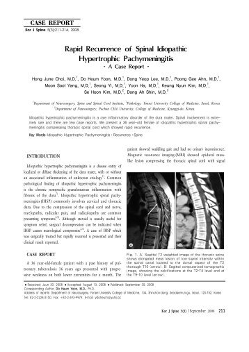 Rapid Recurrence of Spinal Idiopathic Hypertrophic Pachymeningitis
