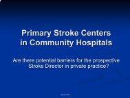 Establishment of Primary Stroke Centers in the community