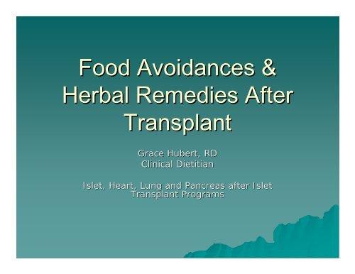 Food Avoidances & Herbal Remedies After Transplant - ITNS Alberta