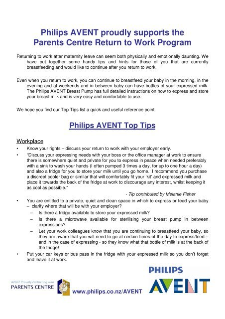 Philips Avent Proudly Supports The Parents Centre Return To Work
