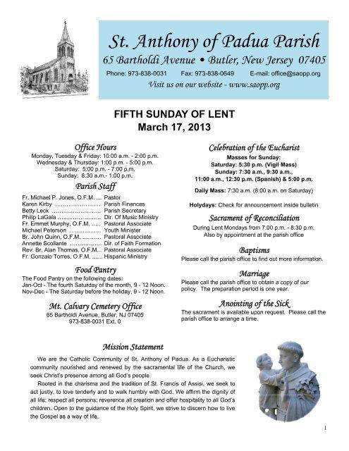 St  Anthony of Padua Parish 65 Bartholdi Avenue     - Saopp org