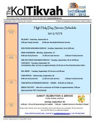 High Holy Day Service Schedule 2012/5773 - Temple Beth Tikvah