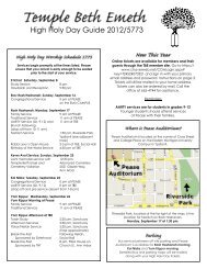 High Holy Day Guide 2012/5773 - Temple Beth Emeth