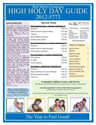 HIGH HOLY DAY GUIDE - Beth Sholom Synagogue