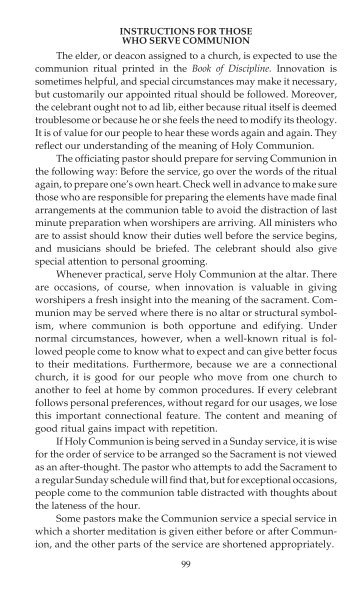 99 INSTRUCTIONS FOR THOSE WHO SERVE COMMUNION The ...