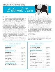 High holy days 2012 l'shanah tova - Congregation B'nai B'rith