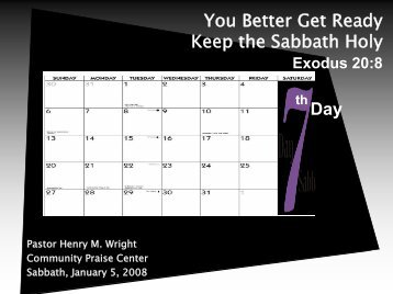 You Better Get Ready Keep the Sabbath Holy Day