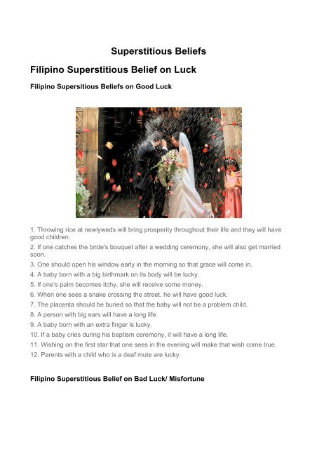 Superstitious Beliefs - Philippine Culture