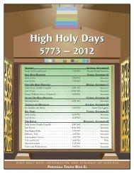 High Holy Days 5773 – 2012 - Peninsula Temple Beth El
