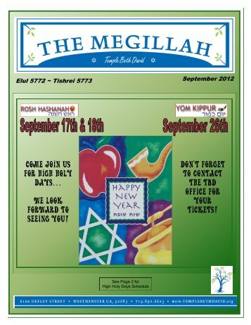 Come join us for high holy days… We look forward to seeing you ...