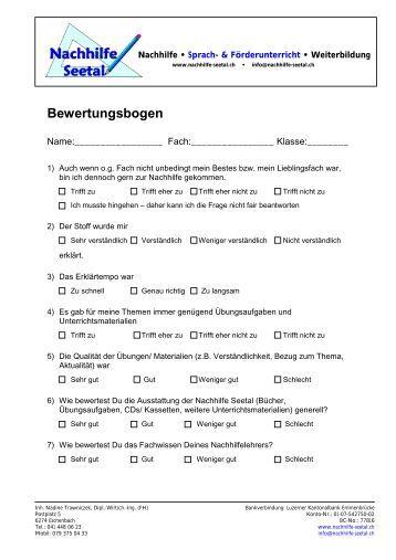 Bewertungsbogen - Nachhilfe Seetal. Sprachunterricht ...