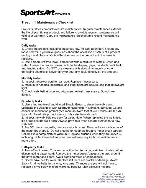 Treadmill Maintenance Checklist - SportsArt