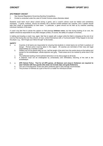 APS Primary Cricket Regulations 2013 - APS Sport