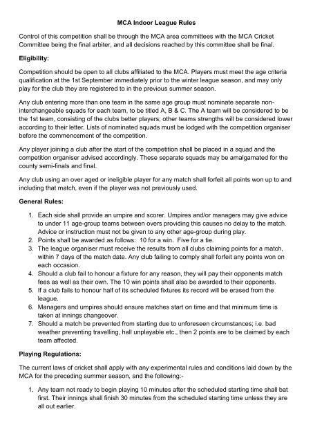 MCA Indoor League Rules pdf - MCA North Area
