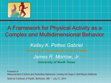A Framework for Physical Activity as a Complex and ...