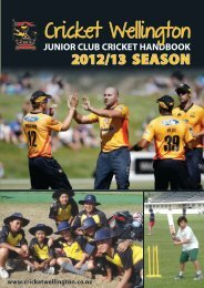 Junior Cricket Handbook - Wellington Cricket