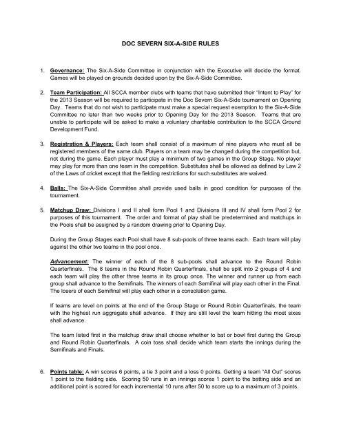 DOC SEVERN SIX-A-SIDE RULES - Hollywood Cricket Club
