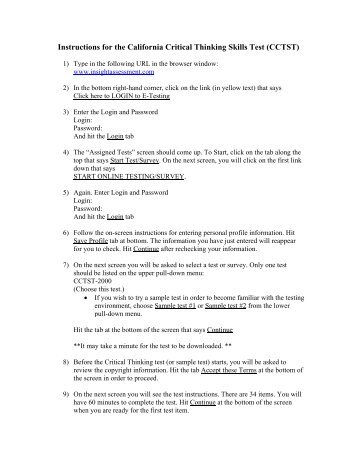 California critical thinking skills test (cctst) pdf