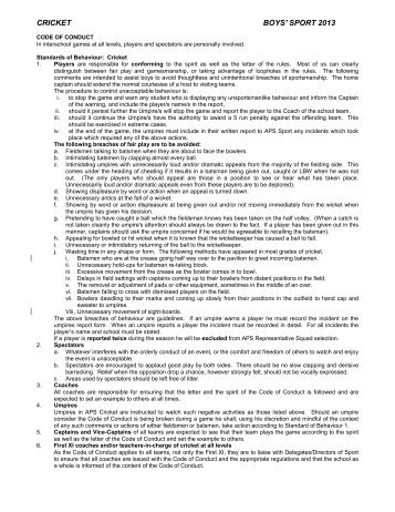 APS Cricket Regulations 2013 - APS Sport