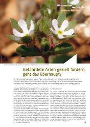 Gefährdete Arten gezielt fördern, geht das ... - Hintermann & Weber AG