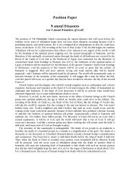 Position Paper Natural Disasters - The Philadelphia Church