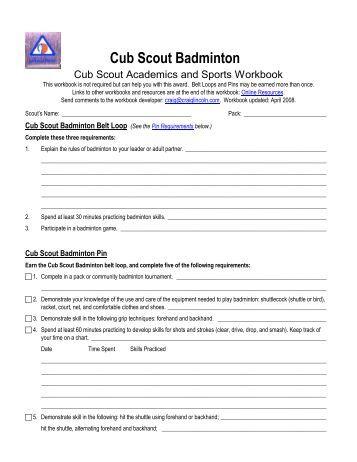 Cub Scout Archery Worksheet - Merit Badge Research Center
